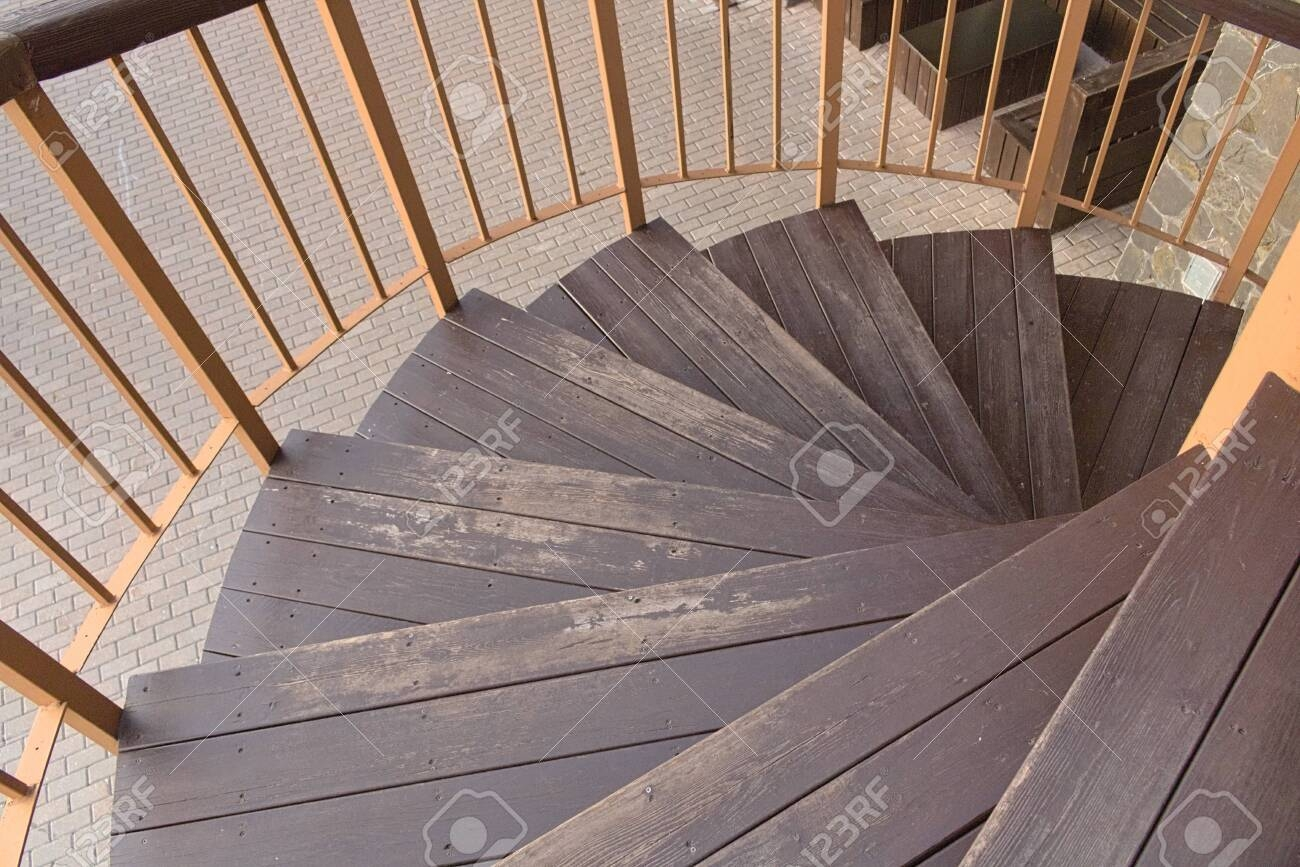 Background Wooden Stairs Spiral Staircase Outside The House Stock | Spiral Staircase Wooden Steps | 2 Floor | Traditional | Enclosed | Kid Friendly | Solid