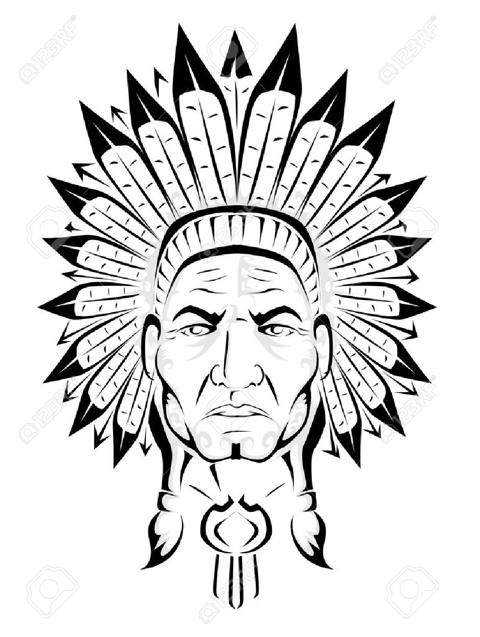 hight resolution of american indian chief stock vector 19941626