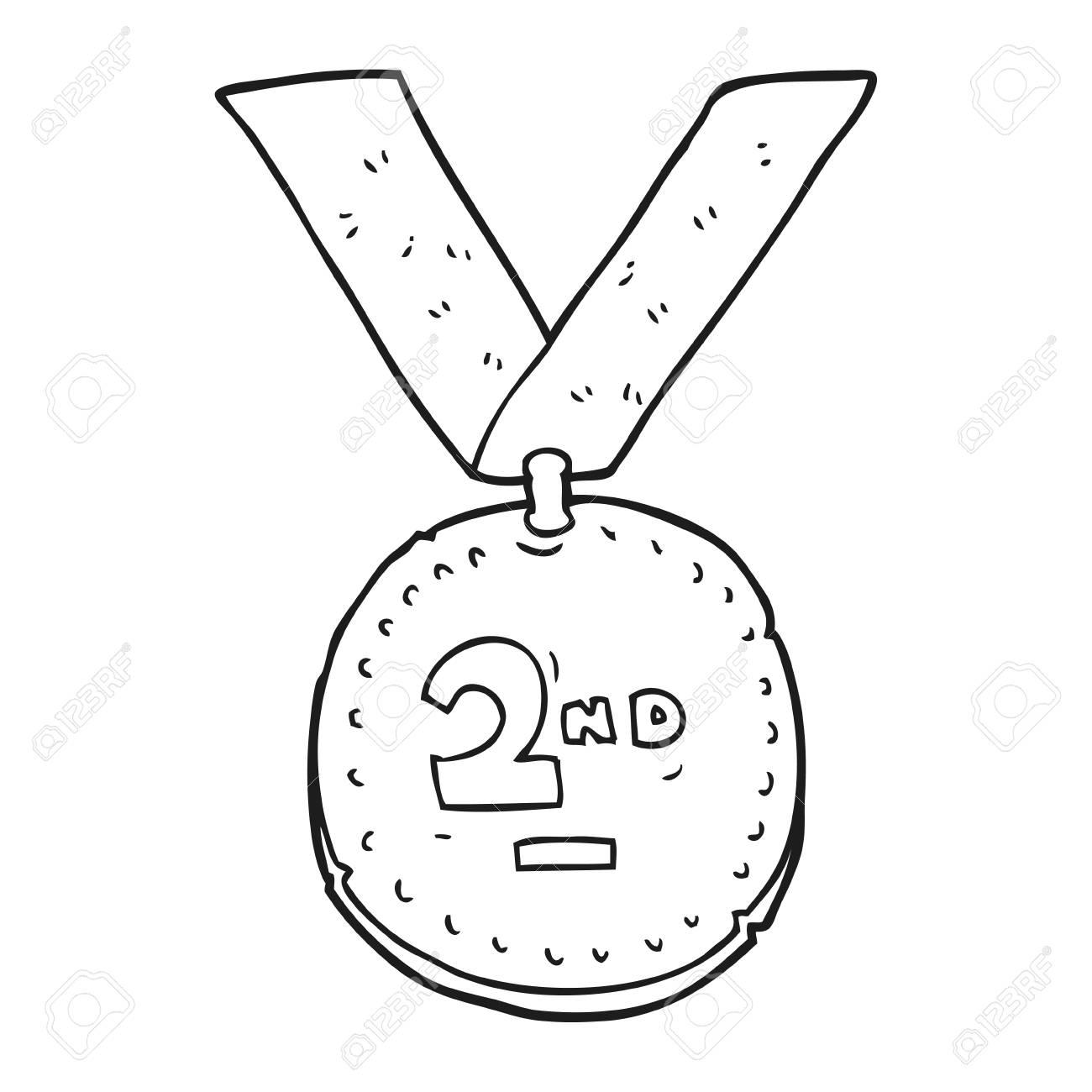 Freehand drawn black and white cartoon sports medal royalty free 53192135 freehand drawn black and white
