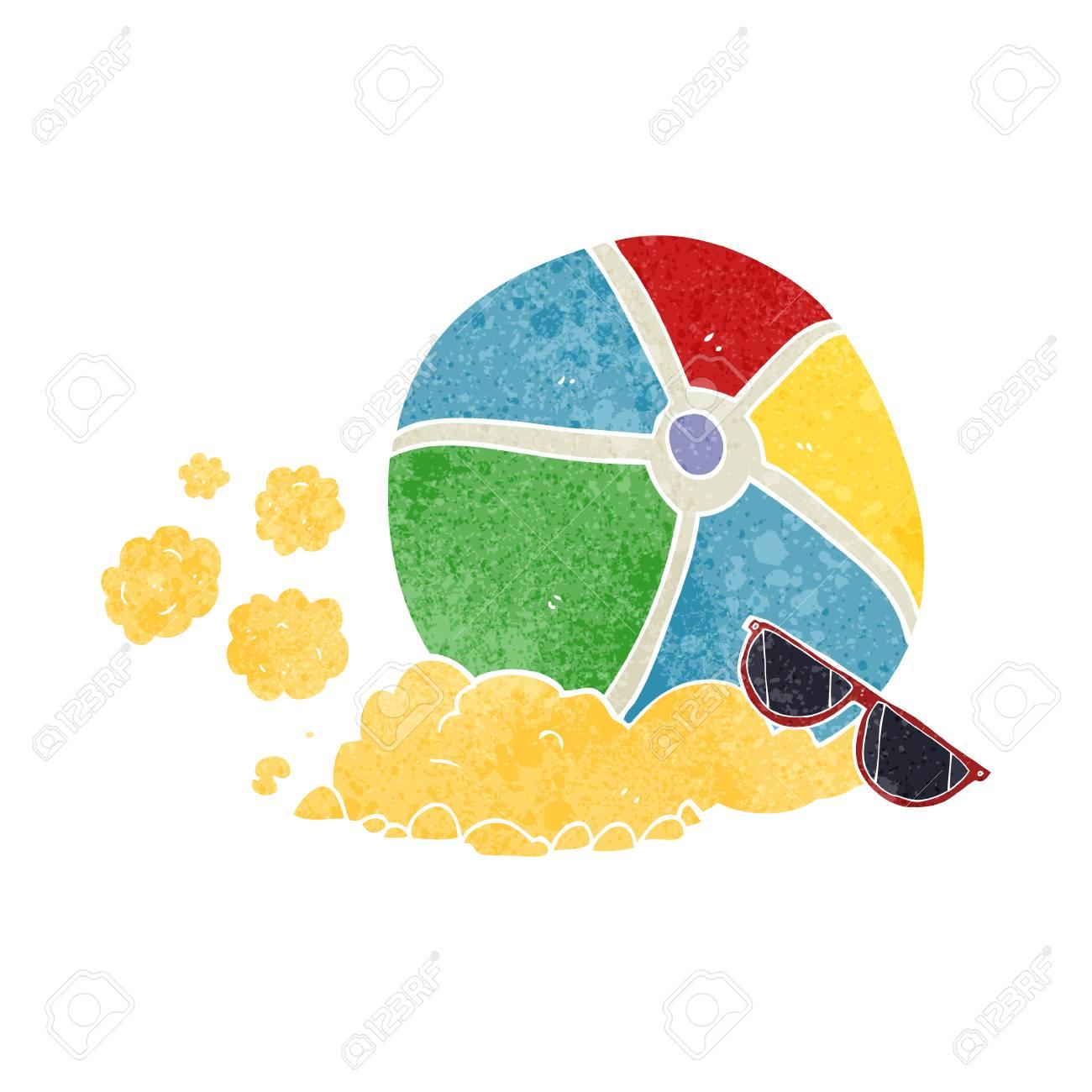 hight resolution of freehand retro cartoon beach ball stock vector 53704984