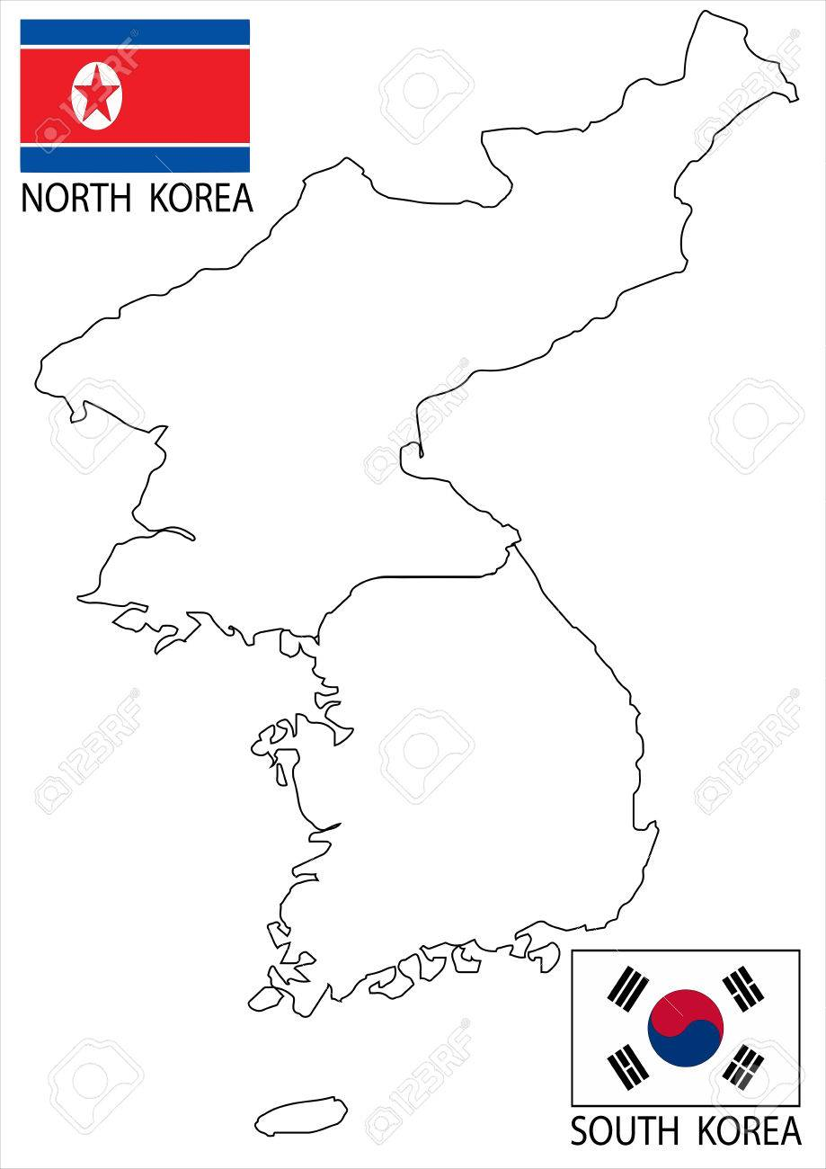 North And South Korea Vector Maps And Flags Royalty Free Cliparts Vectors And Stock Illustration Image 36918076