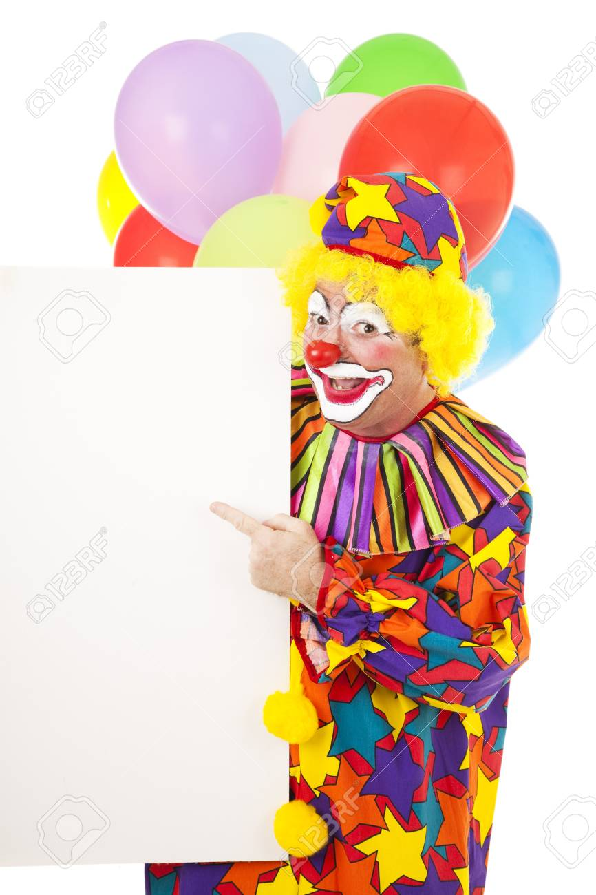 Happy Circus Clown Pointing To A Blank Sign Ready For Your Text Stock Photo Picture And Royalty Free Image Image 6903196