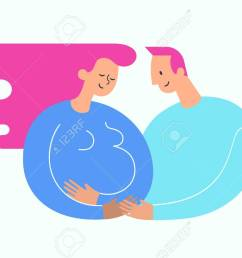 illustration pregnant woman stroking her belly happy dad embracing her happy motherhood and baby expectation concept modern illustration could be used  [ 1300 x 892 Pixel ]