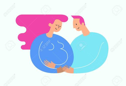small resolution of illustration pregnant woman stroking her belly happy dad embracing her happy motherhood and baby expectation concept modern illustration could be used