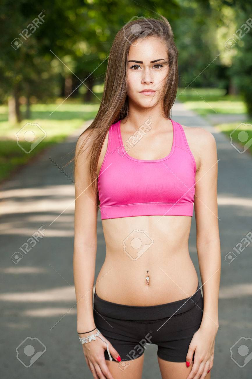 Teen Fitness Model : fitness, model, Portrait, Beautiful, Outdoors, Park., Stock, Photo,, Picture, Royalty, Image., Image, 30403197.
