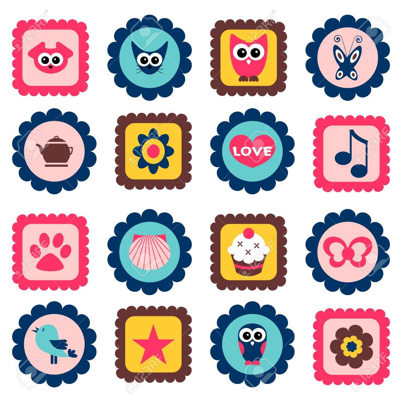 cute childish stamps set