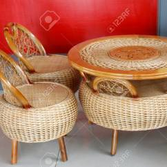 Bamboo Chairs Beach Chair Photo Frame Traditional Chinese Style Of And Tables In A Park Stock