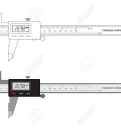 vector vernier caliper digital tool isolated on white illustration  [ 1300 x 936 Pixel ]