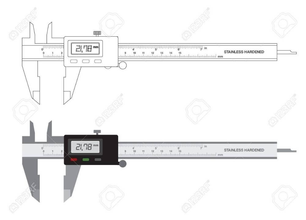 medium resolution of vector vernier caliper digital tool isolated on white illustration
