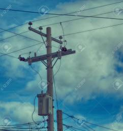 blur in philippines a electric pole with transformer and wire the cloudy sky stock photo  [ 1300 x 1300 Pixel ]
