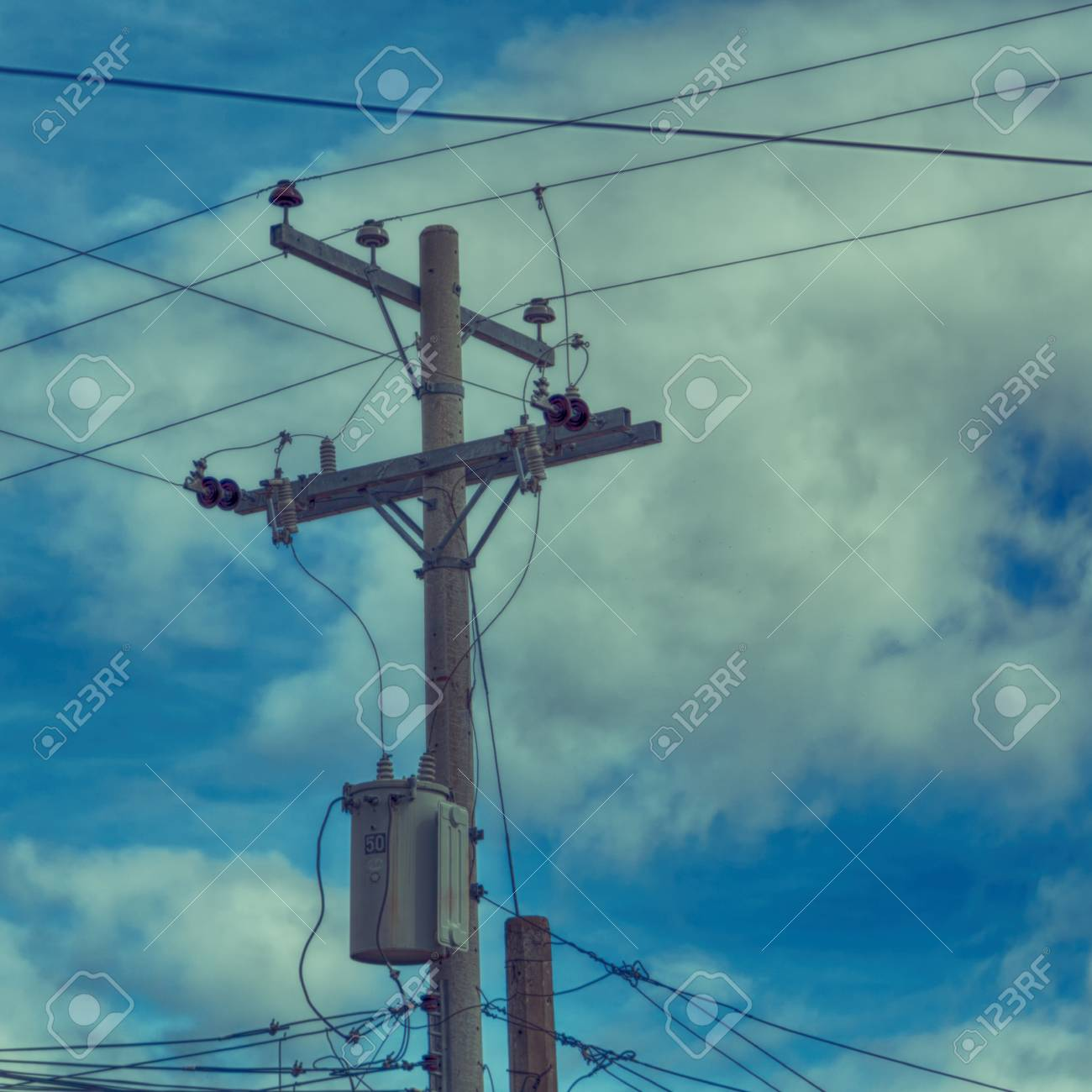 hight resolution of blur in philippines a electric pole with transformer and wire the cloudy sky stock photo
