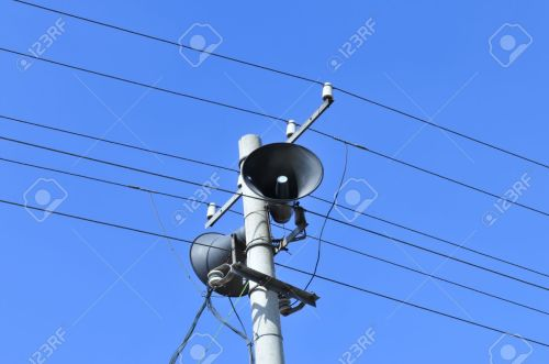 small resolution of in the village on the pole of the horn speaker stock photo 15922122