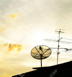 satellite dish in the morning sky stock photo 36994414 [ 1300 x 866 Pixel ]
