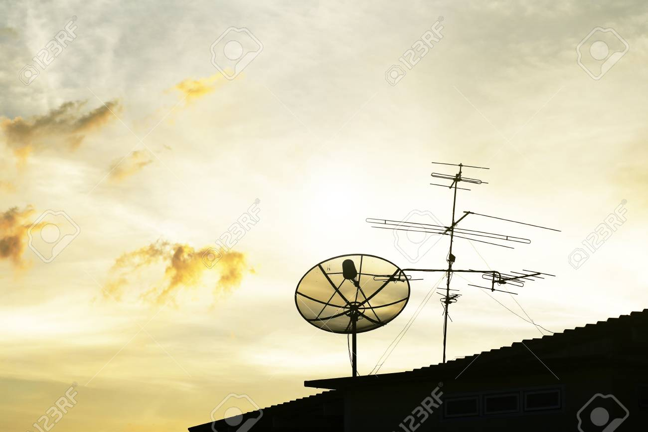 hight resolution of satellite dish in the morning sky stock photo 36994414