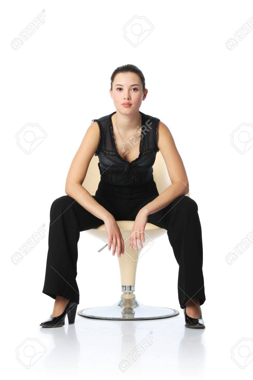 Chair Pants Asian Businesswoman In Black Pants Sitting In Chair Isolated
