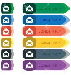 mail envelope letter icon sign set of colorful bright long buttons with [ 1300 x 1300 Pixel ]