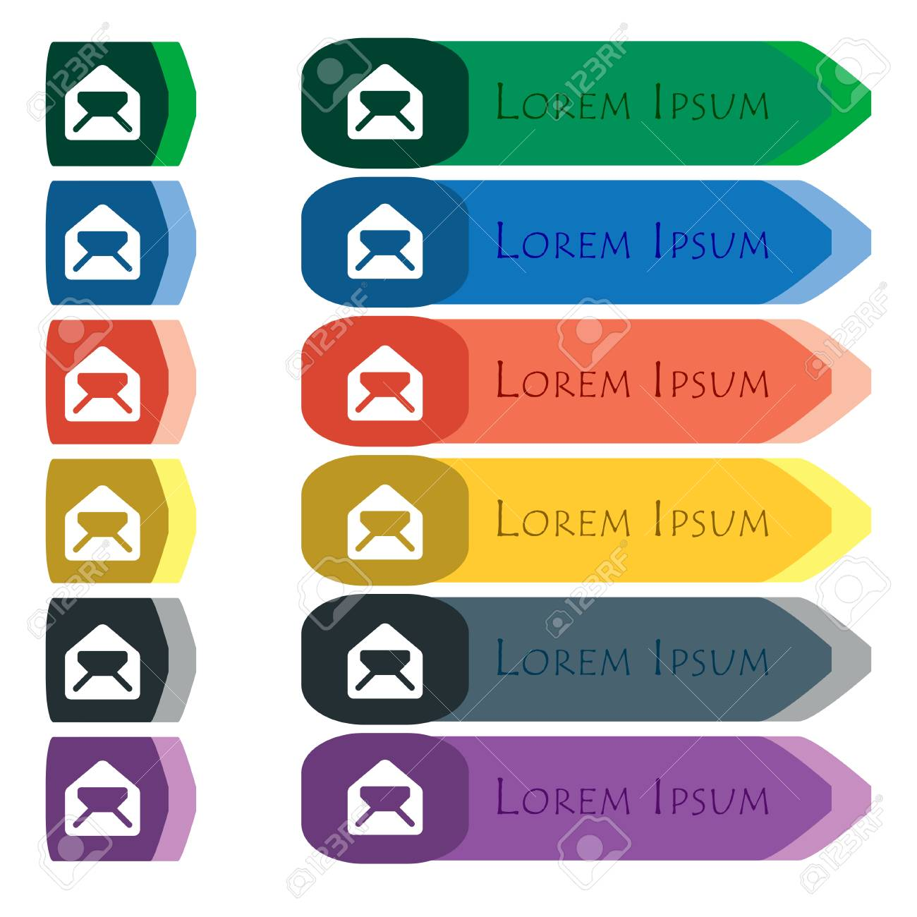 hight resolution of mail envelope letter icon sign set of colorful bright long buttons with