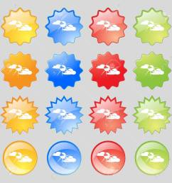 sun behind cloud icon sign big set of 16 colorful modern buttons for your design [ 1300 x 1300 Pixel ]