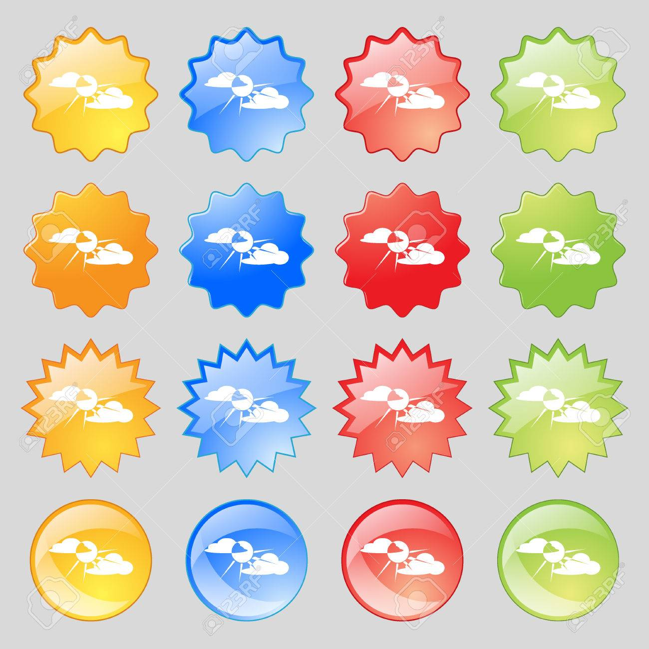 hight resolution of sun behind cloud icon sign big set of 16 colorful modern buttons for your design