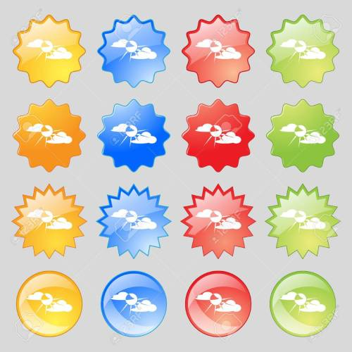 small resolution of sun behind cloud icon sign big set of 16 colorful modern buttons for your design