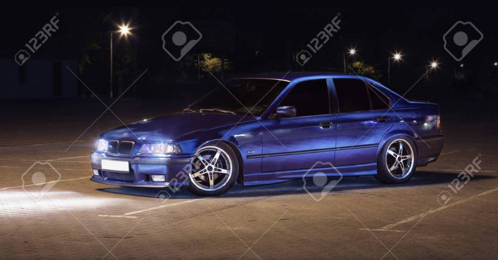medium resolution of sports car bmw e36 headlights turned stock photo 36460608