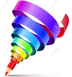 creative art pencil design concept with spiral of color rainbow ribbon isolated on white background  [ 1082 x 1300 Pixel ]