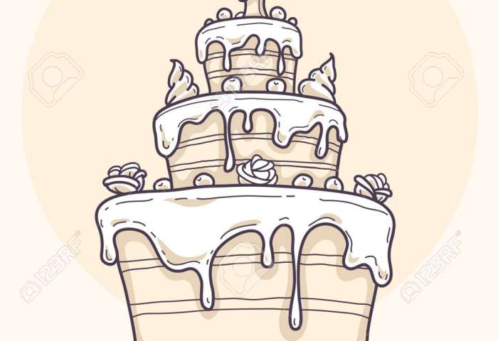 Greeting Card With Big Birthday Cake Contour Drawing Vector