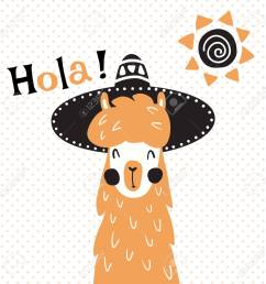 vector vector illustration a cute llama in mexican sombrero hat hola spanish text which is translated as hello [ 1300 x 1300 Pixel ]