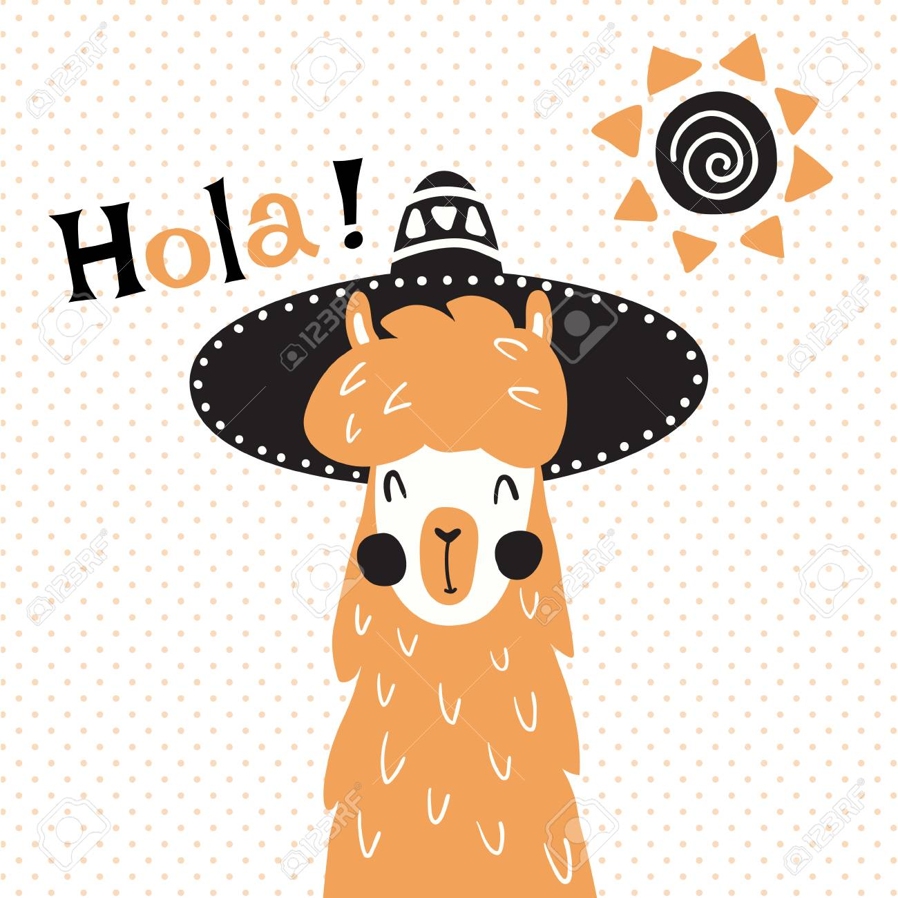 hight resolution of vector vector illustration a cute llama in mexican sombrero hat hola spanish text which is translated as hello
