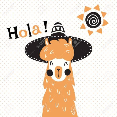 small resolution of vector vector illustration a cute llama in mexican sombrero hat hola spanish text which is translated as hello