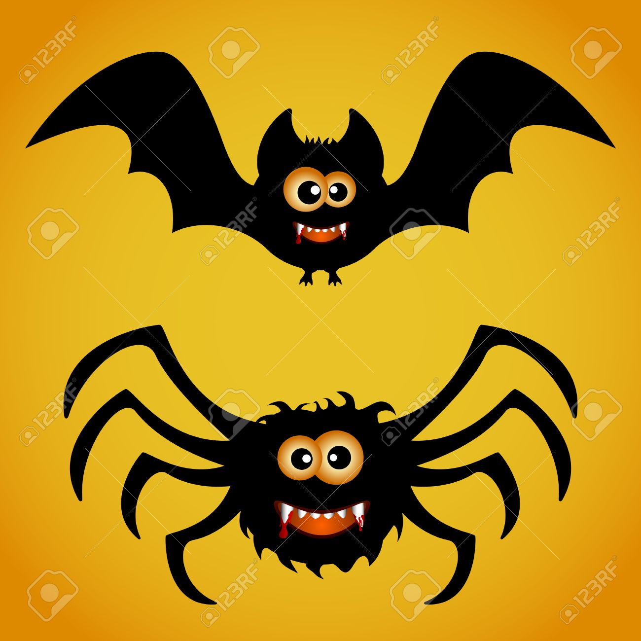 cartoon bat and spider