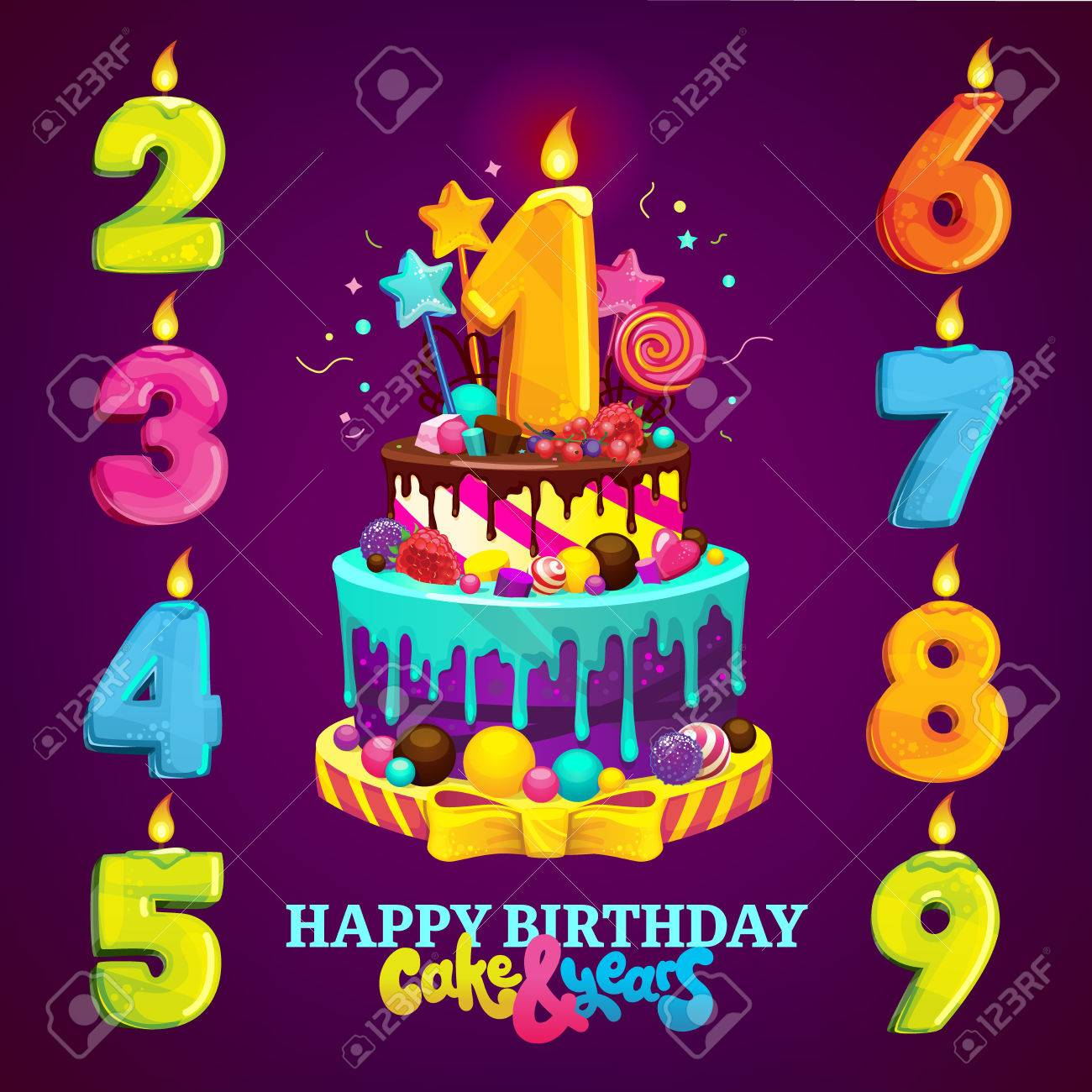 Set For A Childrens Party Happy Birthday Cake And Numbers For