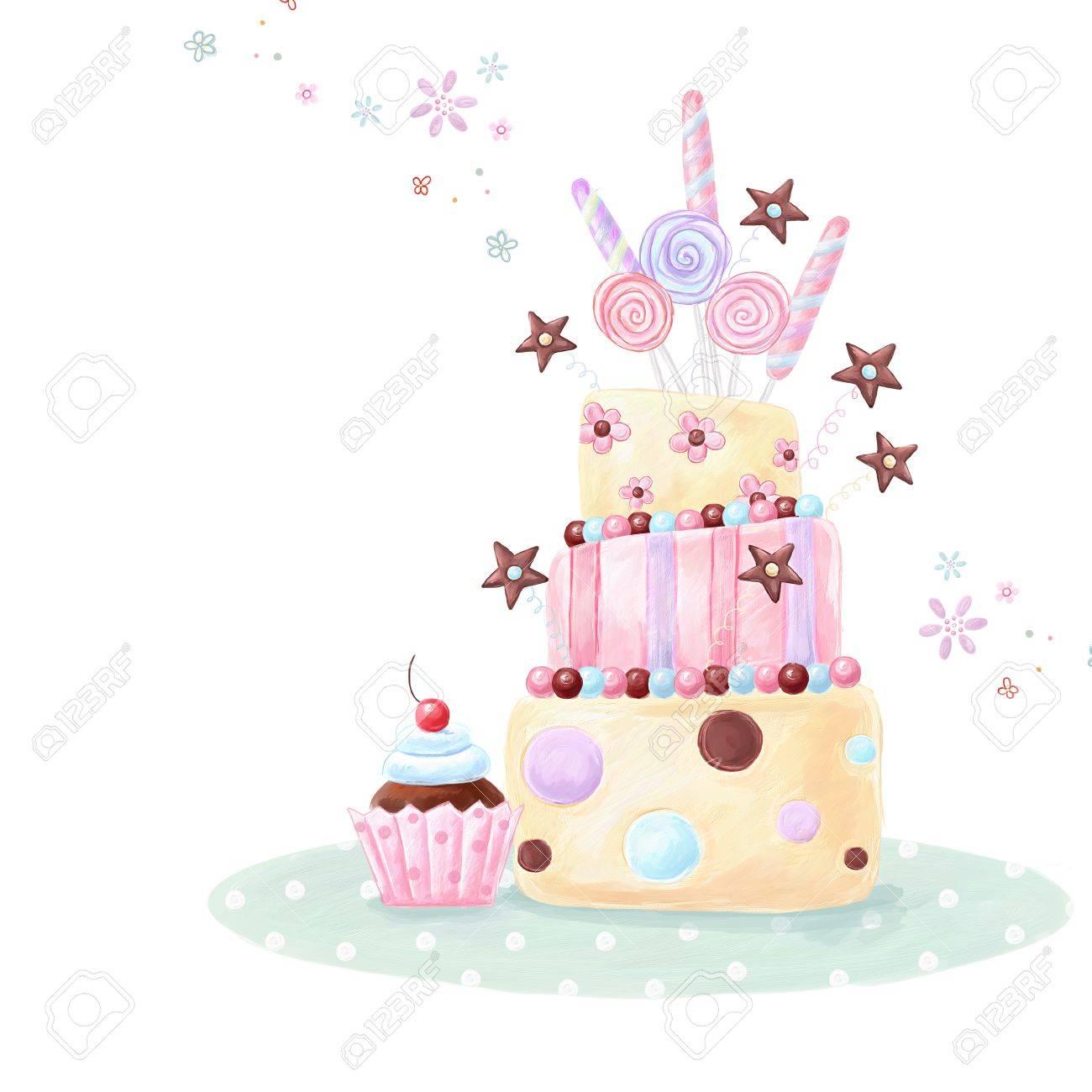 Tea Time Template Design Illustration Made Of Birthday Cake