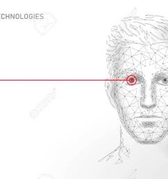low poly male human face biometric identification recognition system concept personal data secure access [ 1300 x 812 Pixel ]