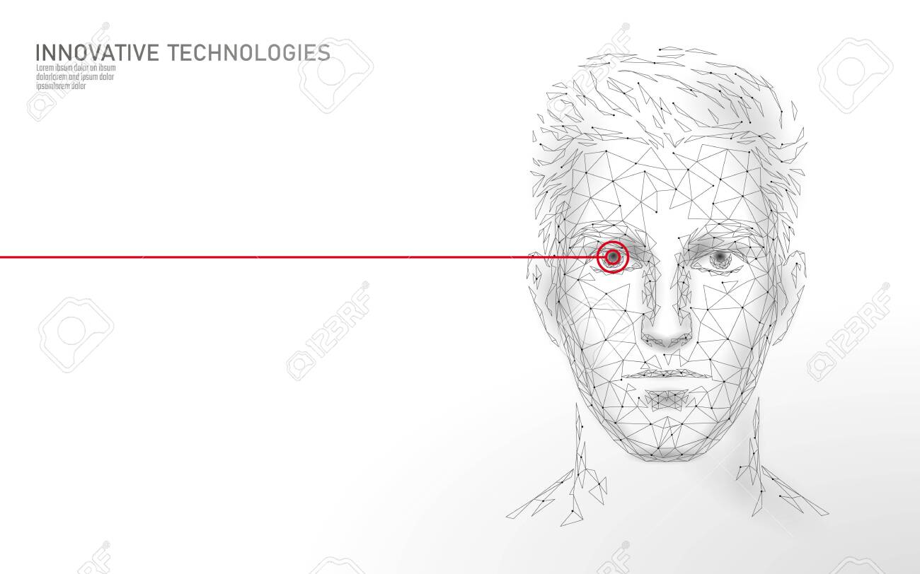 hight resolution of low poly male human face biometric identification recognition system concept personal data secure access