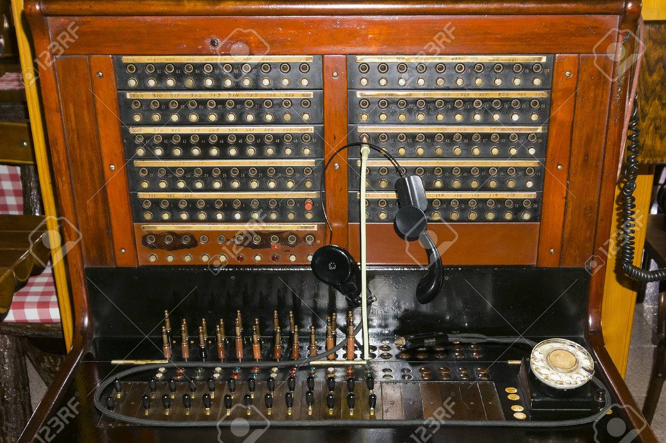 vintage small telephone switchboard