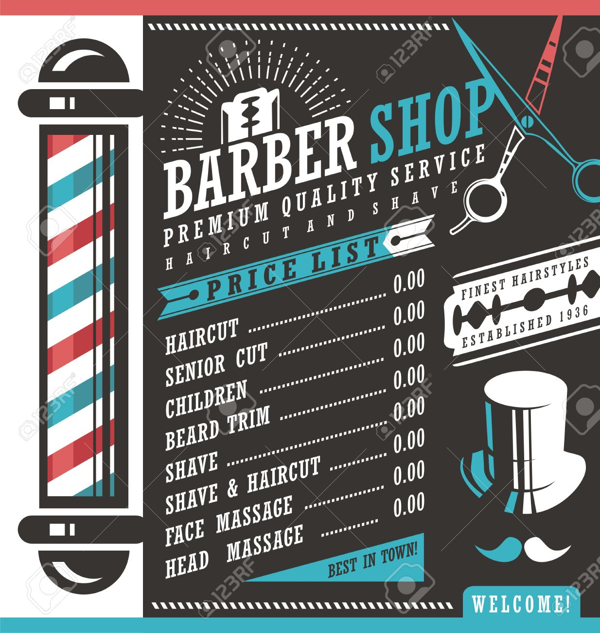 Barber Shop Vector Price List Template Royalty Free Cliparts ...