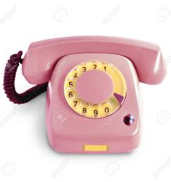 stock photo vintage pink telephone with rotary dial isolated on white background [ 1300 x 1300 Pixel ]