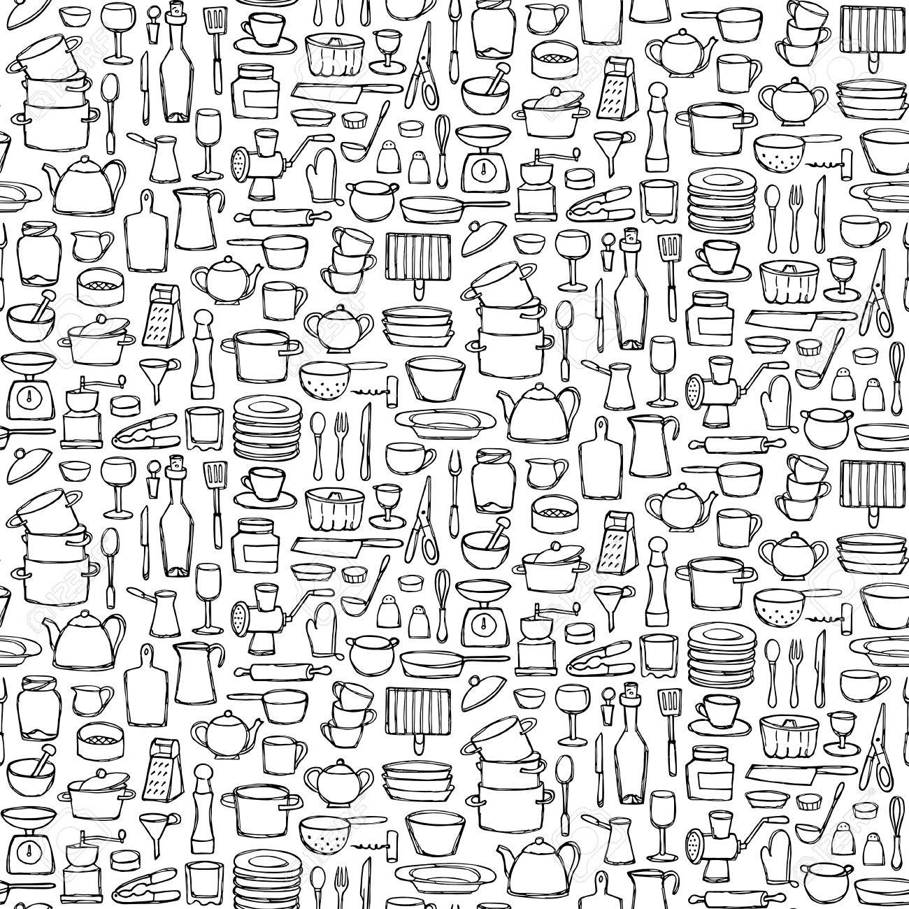 Seamless Pattern Of Kitchen Doodles Coloring Page Sketch Of