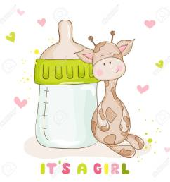 baby shower or baby arrival cards cute baby giraffe stock vector 53446953 [ 1300 x 1300 Pixel ]
