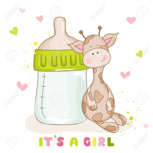 small resolution of baby shower or baby arrival cards cute baby giraffe stock vector 53446953