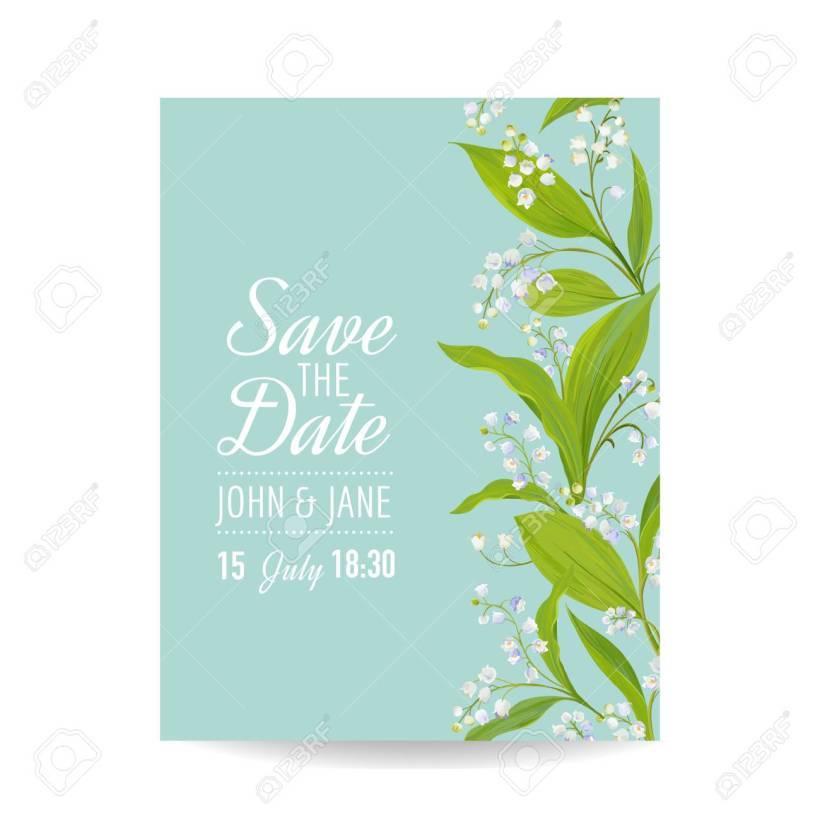 Fl Wedding Invitation Template With Spring Lily Of The Valley Flowers Save Date Card