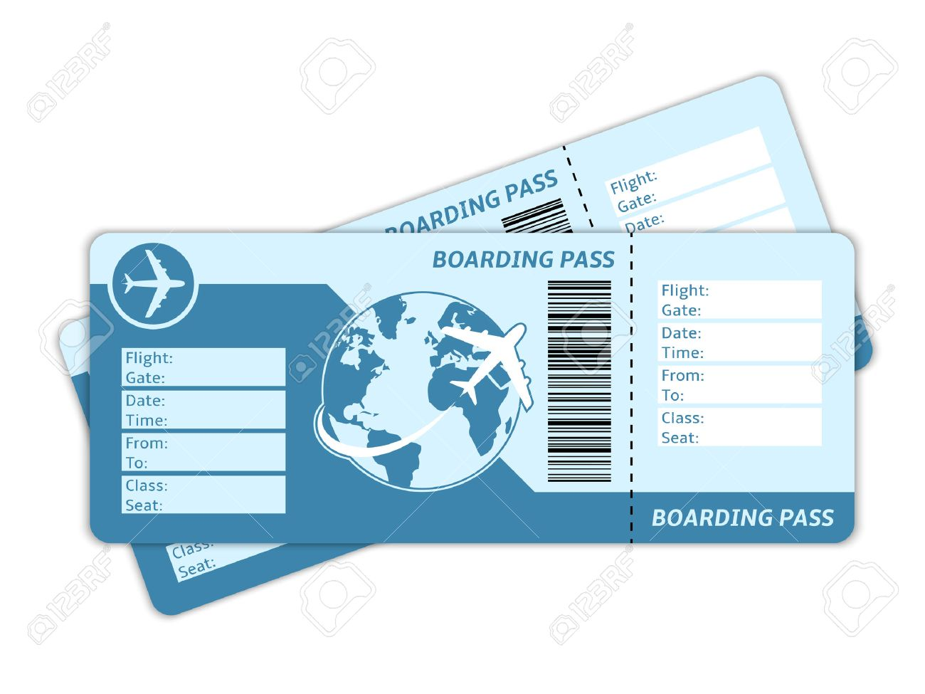 hight resolution of blank plane tickets for business trip travel or vacation journey isolated vector illustration illustration