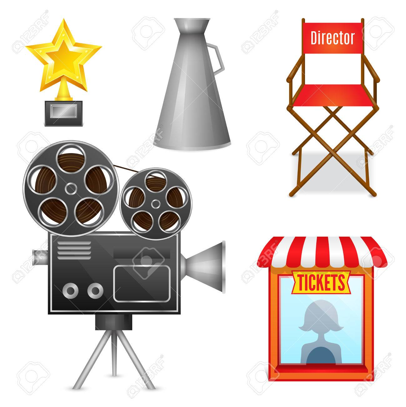 chair design icons bungie cord cinema entertainment decorative set of camera film projector ticket booth and director elements