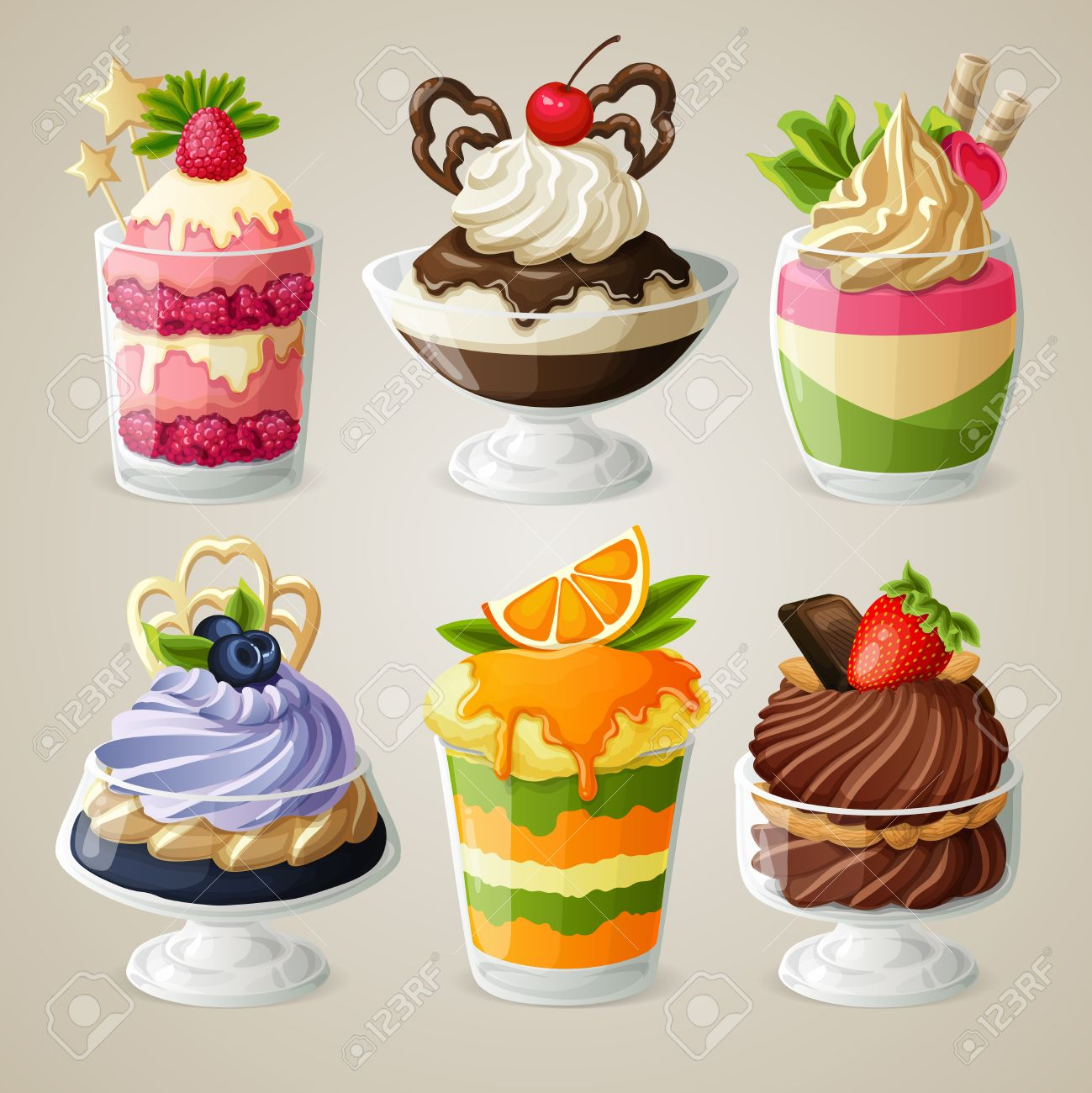 Decorative Sweets Ice Cream And Mousse In Glass Desserts With