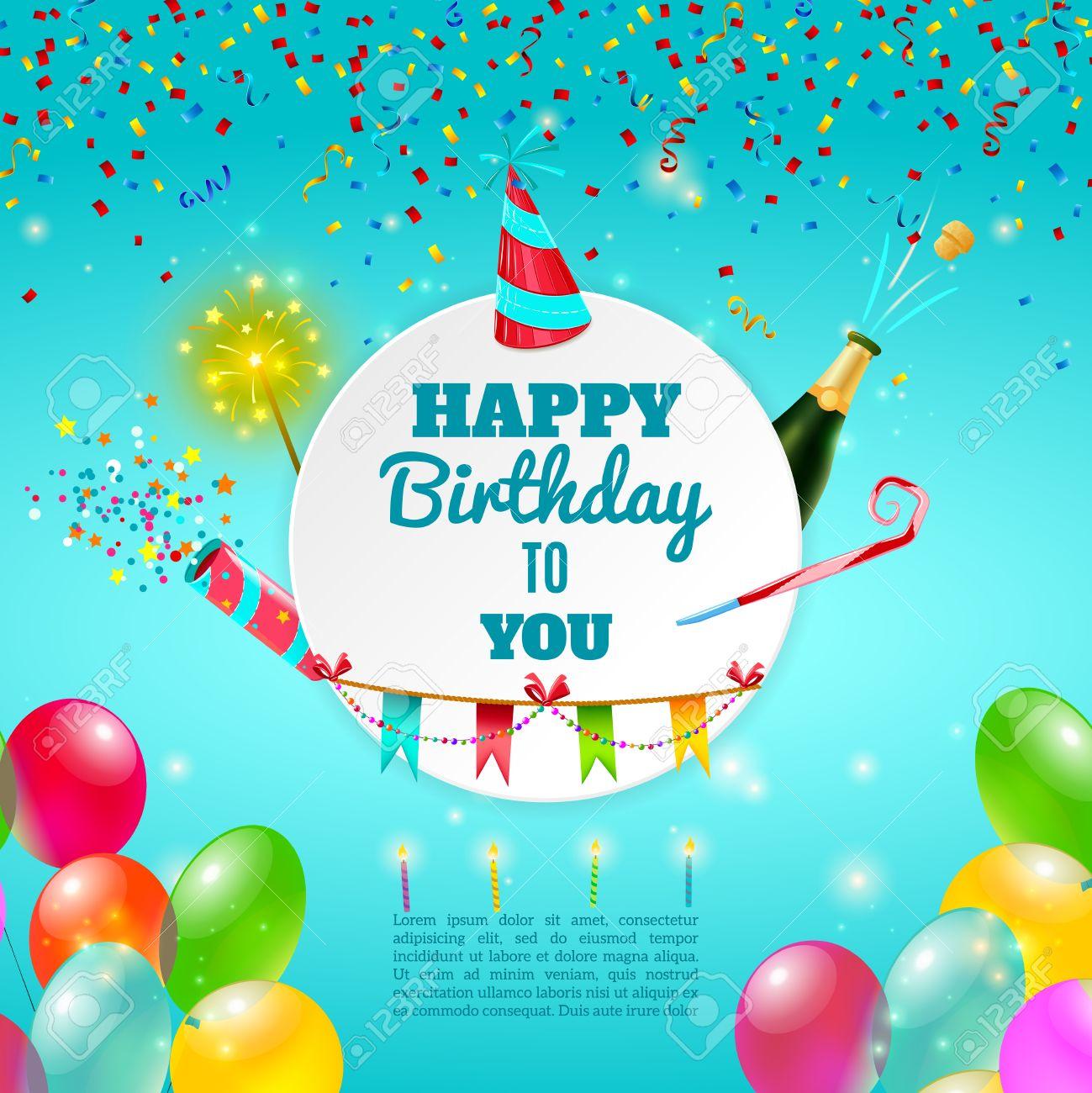 heureux anniversaire adulte modele celebration de fete de fond ou de la carte d invitation avec du champagne et des decorations abstraites