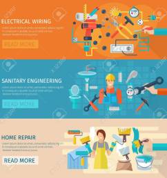 home repair horizontal banner set with electrical wiring flat elements isolated vector illustration stock vector  [ 1299 x 1300 Pixel ]