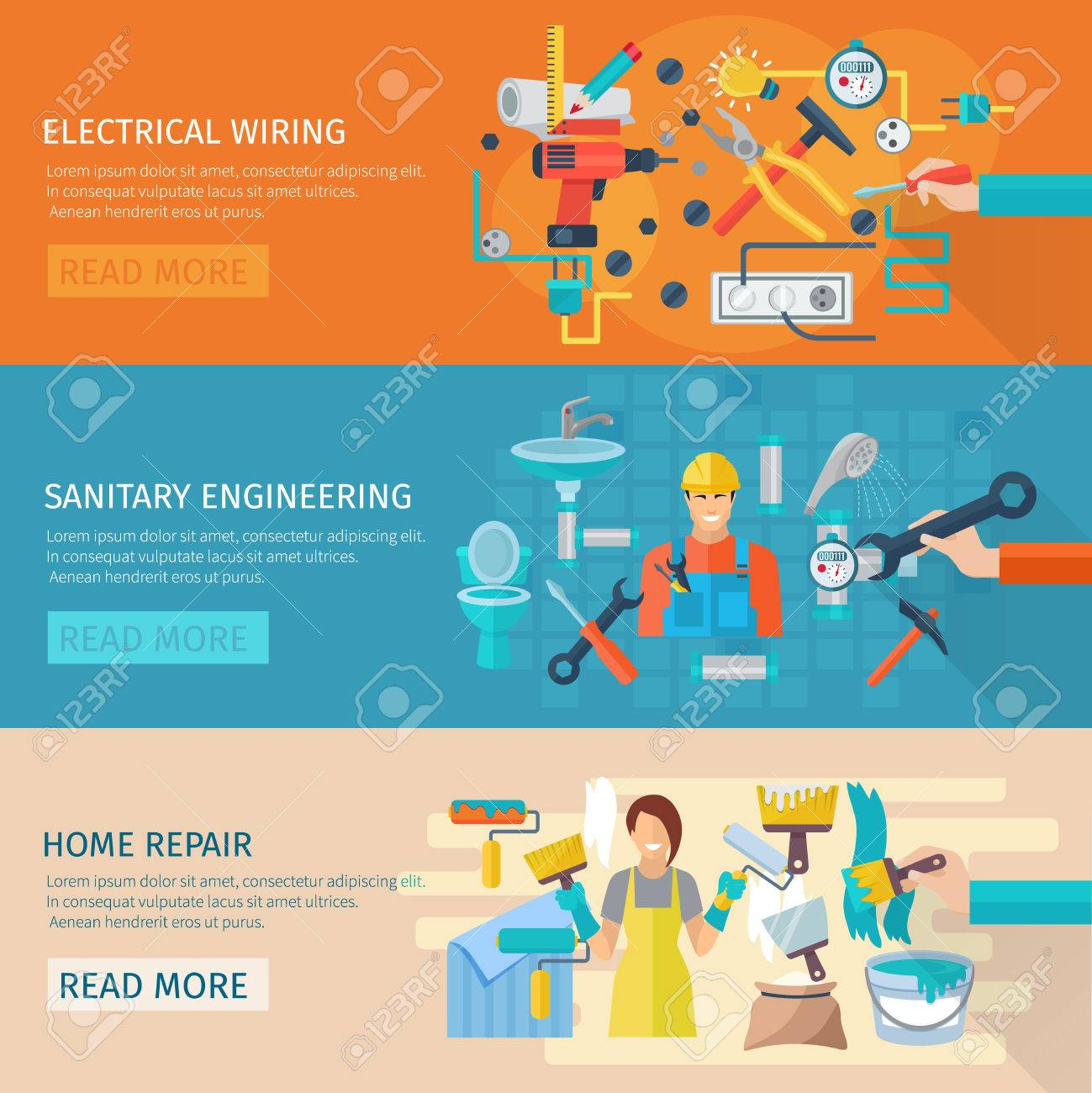 hight resolution of home repair horizontal banner set with electrical wiring flat elements isolated vector illustration stock vector