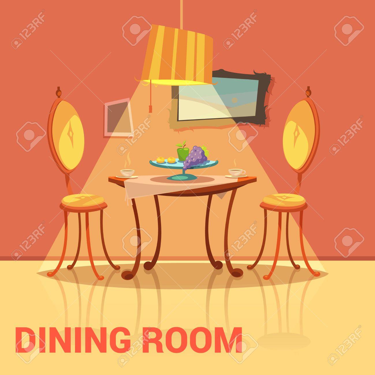 salle a manger design retro avec des chaises de table et dessin anime image illustration vectorielle