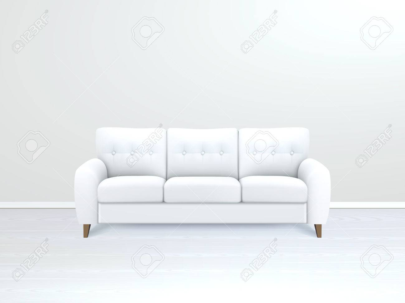 sofa art gallery leather or fabric dogs white soft luxury in modern apartment salon vector office interior realistic illustration
